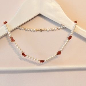 Carnelian and Faux Pearl Necklace